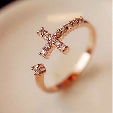 Women's Rhinestone / Alloy Cross Band Ring - Open / Adjustable Golden Ring For Party / Daily