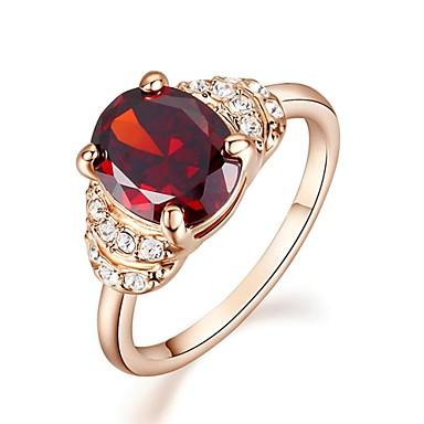 Pentru femei Inel de declarație Cristal Diamant sintetic Rosu Placat Auriu Diamante Artificiale Pietrele Lunilor Nuntă Petrecere Casual