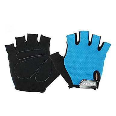 billige Sykkelhansker-FJQXZ Sykkelhansker Pustende Anti-Skli Svettereduserende Beskyttende Halv Finger Aktivitets- / Sportshansker Fjellsykling Blå til Voksne Utendørs