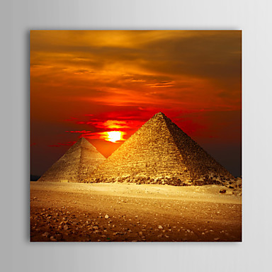 Stretched Canvas Print Art Landscape Sunset And Egypt Pyramids