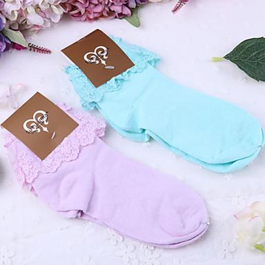 Strümpfe / Strumpfhosen Niedlich Lolita Damen Purpur / Blau Lolita Accessoires Solide Socken Spitze / Polyester