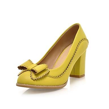 Dámské Boty Koženka Jaro Léto Podzim Zima Kačenka Mašle pro Šaty Žlutý