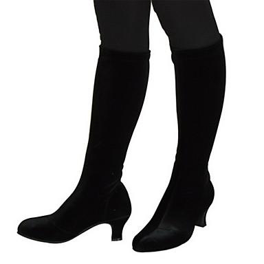 Women's Modern Ballroom Velvet Boots Black Brown 2