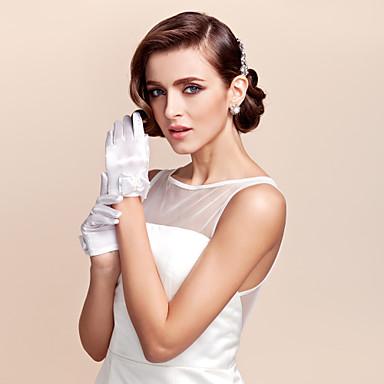 Satin Wrist Length Glove Flower Girl Gloves With Bowknot