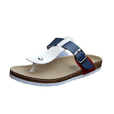 Men's Spring Summer Fall Comfort Leatherette Casual Flat Heel Black Blue