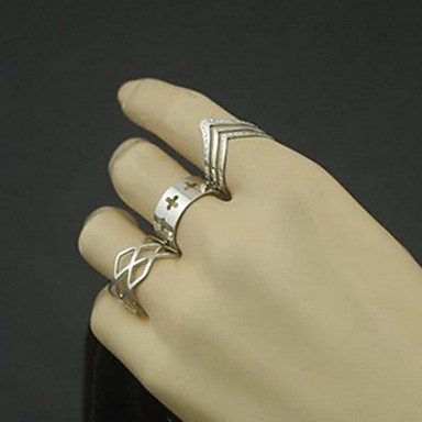 Women's Hollow Ring - Alloy Cross, Number Simple Style, Fashion Adjustable Silver For Party / Daily / Casual