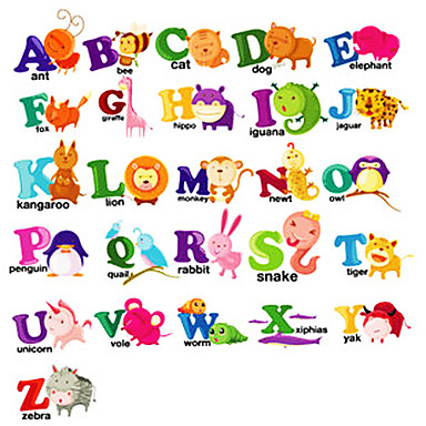 Cartoon Tier Buchstaben Wand Aufkleber