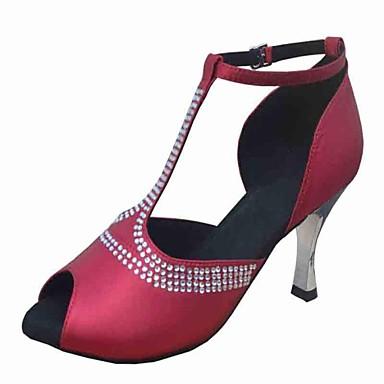Pentru femei Pantofi Dans Latin Satin Toc Înalt / Sandale Piatră Semiprețioasă Toc Personalizat NePersonalizabili Pantofi de dans Bej / Verde / Violet