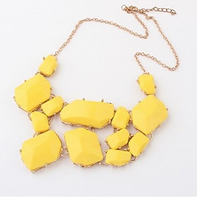 Women's Statement Necklace - Rhinestone Luxury, European, Fashion Yellow, Pink, Royal Blue Necklace For Party, Daily, Casual