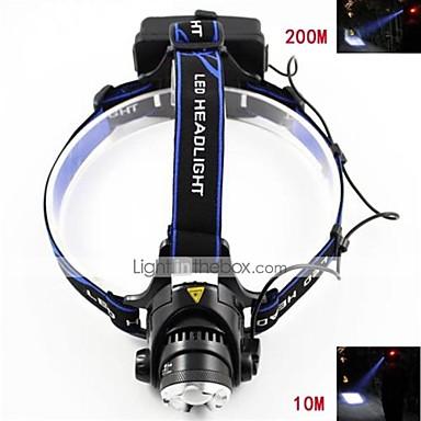 3 Svjetiljke za glavu Prednje svjetlo LED 700-900 lm 3 Način LED s baterijama i punjačem Zoomable Podesivi fokus Može se puniti