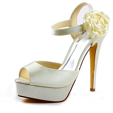 Mujer Zapatos Satén Primavera / Verano Tacón Stiletto / Plataforma Flor de Satén Negro / Blanco / Rojo / Boda Best-seller HoX2QE0