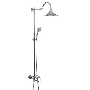 Shower Faucet Bathtub Faucet - Antique Chrome Wall Mounted Ceramic Valve