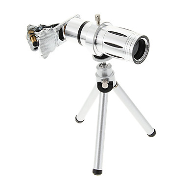 Universal Zoom 12X Telephoto Metal Cellphone Lens with Tripod for iPhone 8 7 Samsung Galaxy S8 S7