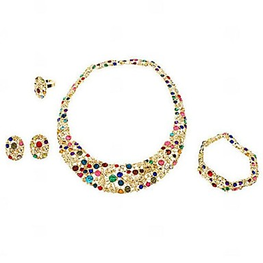 Jewelry Set Women's Party Jewelry Sets Alloy / Rhinestone Rhinestone Necklaces / Bracelets / Earrings Gold