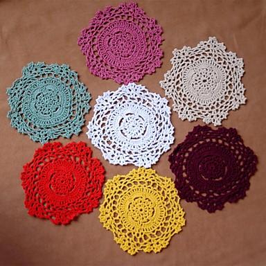 12pcs/set VTG Shabby Chic Håndlavede Hæklede Doilies Coaster tilfældig farve