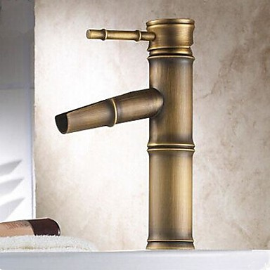 Traditional Centerset Ceramic Valve One Hole Single Handle One Hole Antique Brass, Bathroom Sink Faucet