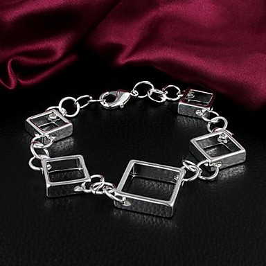 MISS U 925 Silver Plated Square Bracelet