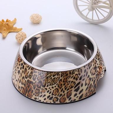 Moda Leopard aplicirano Melamin Okrugli Bowl s Stainless Steel jelo za kućni pasa