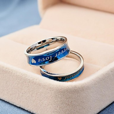 Women's Couple Rings Royal Blue Titanium Steel Round Fashion Daily Casual Costume Jewelry