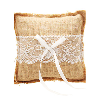 Bowknot Linen Ring Pillow Classic Theme
