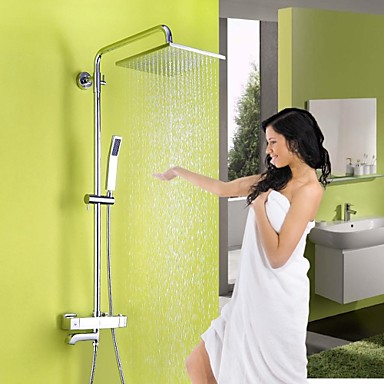 Contemporary Shower System Rain Shower Handshower Included Thermostatic Ceramic Valve Three Holes Two Handles Three Holes Chrome, Shower