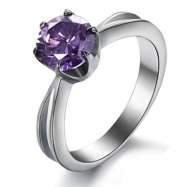 Fashion Stainless Steel Titanium Ring  Jewelry 1.75Ct Elegant 316L Women Amethyst Ring