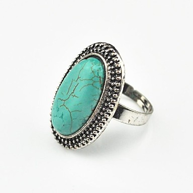 Women's Statement Rings Personalized Vintage Adjustable Turquoise Alloy Circle Jewelry Party Gift Daily Casual