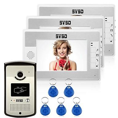 Bekabeld RFID 7inch(es) Handsfree Een tot drie video deurintercom / CMOS / 1 / 3 Inch / 420 TV-lijnen / #