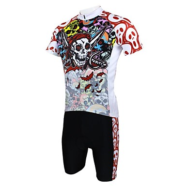 ILPALADINO Men's Short Sleeves Cycling Jersey with Shorts - Red Animal Bike Shorts Jersey Clothing Suits, Quick Dry, Ultraviolet