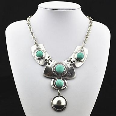 Vintage Antik Sølv turkis vedhæng halskæde (grøn) (1 Pc)