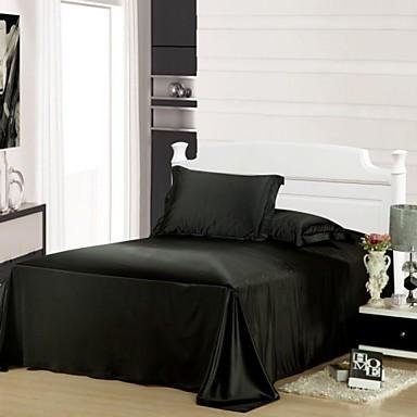 Duvet Cover Sets Solid 4 Piece Faux Silk Faux Silk 4pcs (1 Duvet Cover, 1 Flat Sheet, 2 Shams)