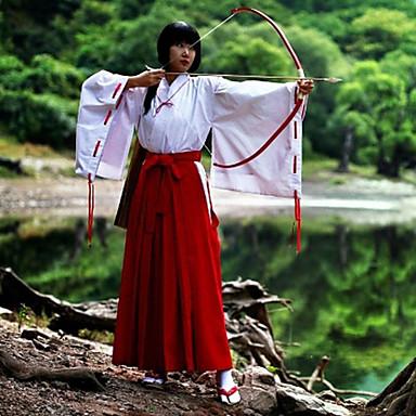 Inspireret af InuYasha Kikyo Anime Cosplay Kostumer Cosplay Kostumer Kimono Ensfarvet Langærmet Top Bukser Til Dame