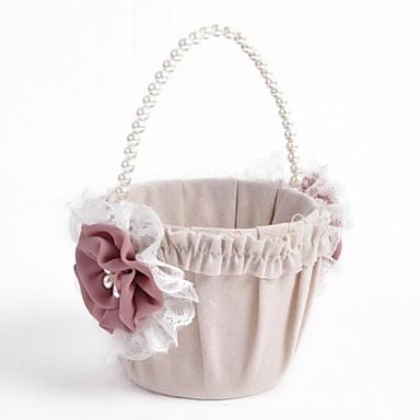 květinový košík plátno faux perla stuhy luk svatební obřad krásná