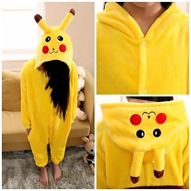 Pijama Kigurumi Pika Pika Pijama Întreagă Costume Flanel Lână Galben Cosplay Pentru Pentru copii Sleepwear Pentru Animale Desen animat