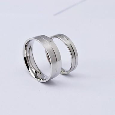 Универсальные Кольца для пар - Титановая сталь Серебряный