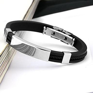 voordelige Herensieraden-Heren Bangles Gepersonaliseerde Modieus Roestvast staal Armband sieraden Zwart Voor Dagelijks Causaal Sport / Siliconen