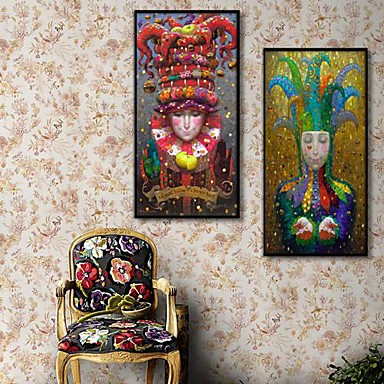 People Framed Canvas / Framed Set Wall Art,PVC Black No Mat With Frame Wall Art