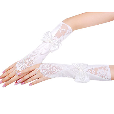 Opera Length Fingerless Glove - Satin/Lace Bridal Gloves/Party/ Evening Gloves