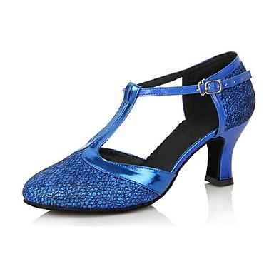 Dames Modern Ballroom Kunstleer Hoge hakken Blokhak Blauw Goud Fuchsia Paars Lichtblauw 6cm