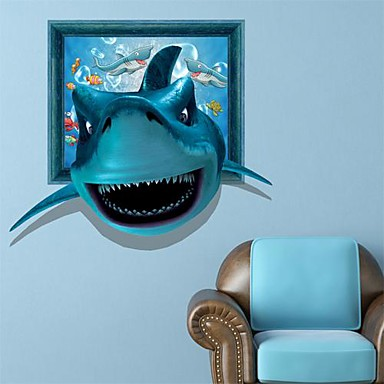 3D Shark Wall Stickers Vægoverføringsbilleder