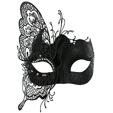 Maska cosplay Festival/Svátek Halloweenské kostýmy Černá Jednobarevné / Krajka Maska Halloween / Karneval Unisex Kov
