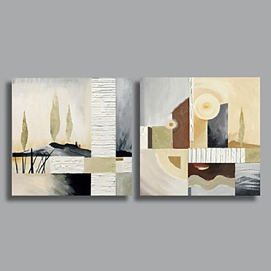 Hand-Painted Abstract Horizontal Canvas Oil Painting Home Decoration Two Panels