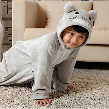Kigurumi Pajamas Totoro / Cat Onesie Pajamas Costume Flannel Toison Cosplay For Kid's Animal Sleepwear Cartoon Halloween Festival /