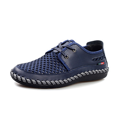 Men's Sandals Comfort Leather Spring Summer Fall Winter Casual Office & Career Comfort Lace-up Flat Heel Grey Navy Brown Yellow Green