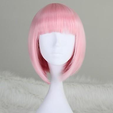 저렴한 인조 합성 캡없는 가발-인조 합성 가발 직진 Kardashian 스타일 밥 헤어컷 캡 없음 가발 핑크 밝은 핑크 인조 합성 헤어 12 인치 여성용 핑크 가발 짧음 / 보통