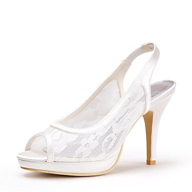 Women's Shoes Lace Spring Summer Slingback Wedding Shoes Stiletto Heel Platform Open Toe Lace for Wedding Ivory Black White Red