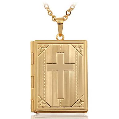 Damen Kreuz vergoldet 18K Gold Anhängerketten Medaillon Halskette  -  Modisch Modische Halsketten Für Hochzeit