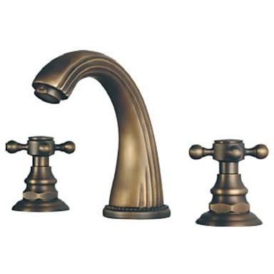 Antique Widespread Ceramic Valve Three Holes Two Handles Three Holes for  Antique Brass , Bathroom Sink Faucet
