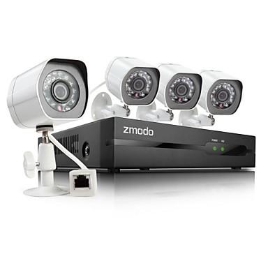 zmodo® 4 kanaals hd nvr Spoe beveiligingssysteem met 4 720p nacht ip camera