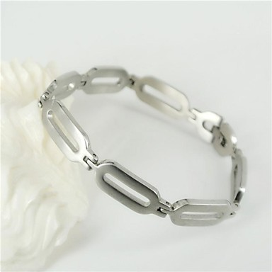 Fashion and Simple Men's Silver 316L Stainless Steel Oval Chain Bracelets